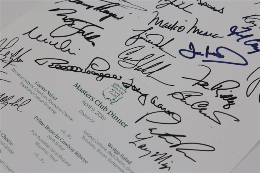 Charles Coody's 2019 Masters Champions Dinner Menu Signed by 32 JSA ALOA