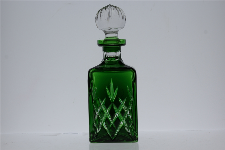Augusta National Golf Club Berckman's Square Emerald Green Logo Decanter with Box & Stopper