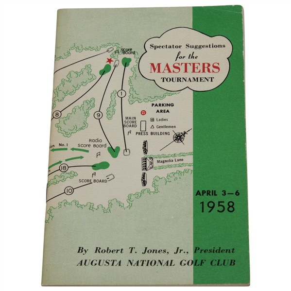 1958 Masters Tournament Spectator Guide - Arnold Palmer Winner - Excellent Condition