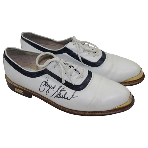 Payne Stewart Dual Signed Purported Tournament Worn FORE Golf Shoes JSA FULL #Z14378
