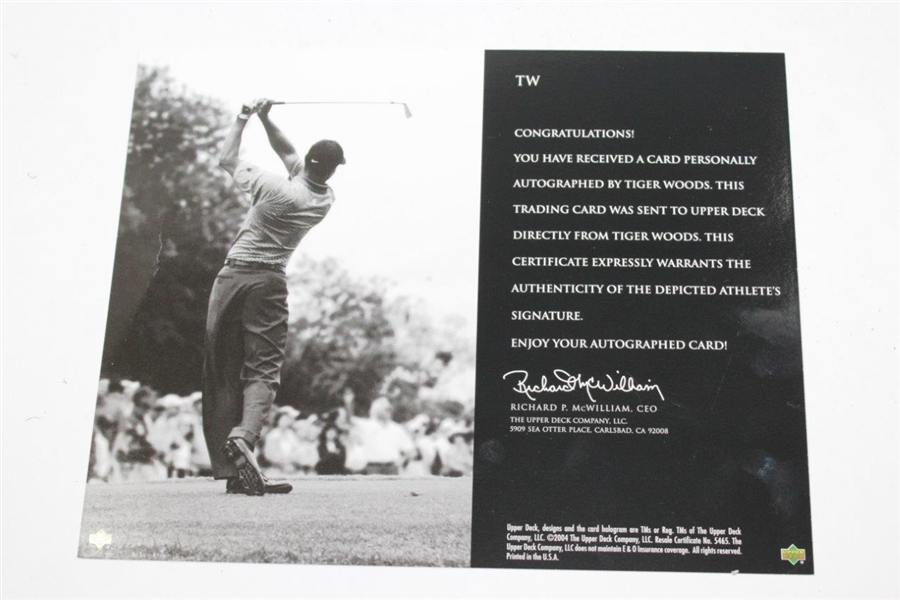 Tiger Woods Signed UDA Signature Shot 'Irving, Texas' 8x10 Photo