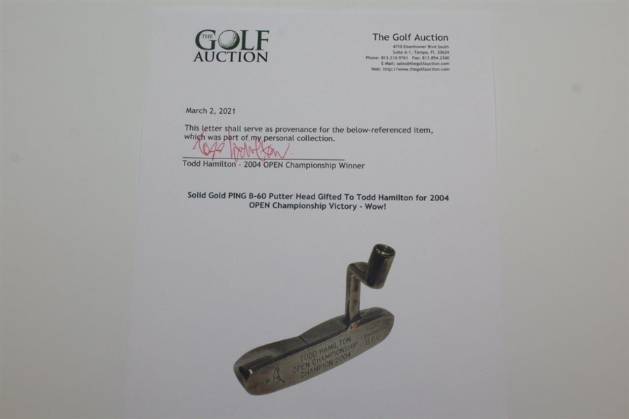 SOLID 18K GOLD PING B-60 Putter Head Gifted To Todd Hamilton for 2004 OPEN Championship Victory - Wow!