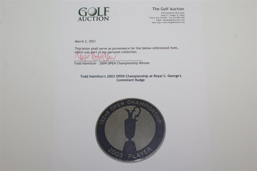 Todd Hamilton's 2003 OPEN Championship at Royal S. George's Contestant Badge