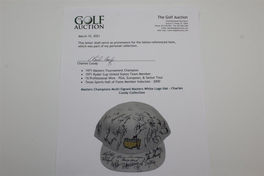 Masters Champions Multi-Signed Masters White Logo Hat - Charles Coody Collection JSA ALOA
