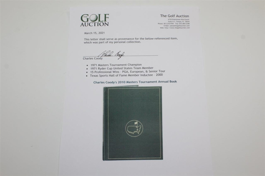 Charles Coody's 2010 Masters Tournament Annual Book