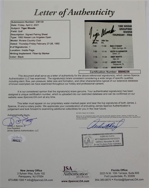 Tiger Woods Signed 1ST Round Of Pro Golf Pairing Sheet/Program with Time Period Signature JSA FULL #BB98236