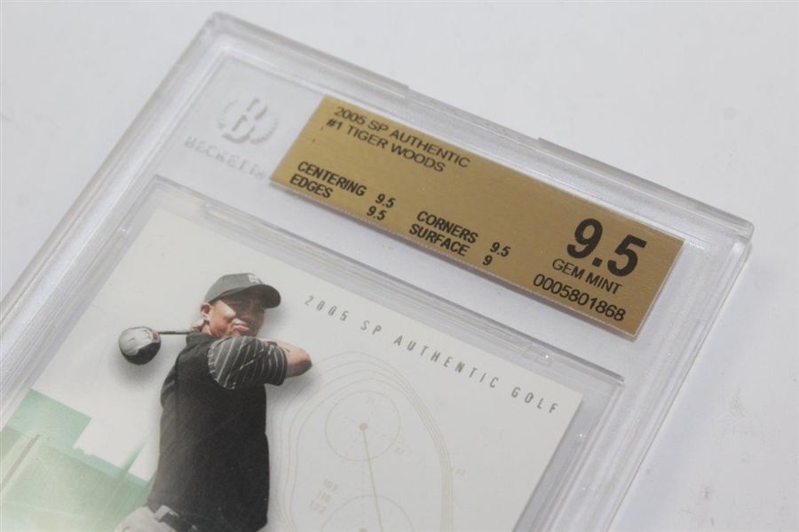 Tiger Woods 2005 SP Authentic Golf #1 Card GEM MINT 9.5 BECKETT 0005801868