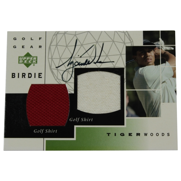 Tiger Woods Signed 2003 Upper Deck Golf Gear Birdie Golf Card - Golf Shirt Dual Patch