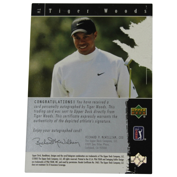 Tiger Woods Signed 2003 Upper Deck The Signature Exhibit Renditions Golf Card - Verso Paper Loss