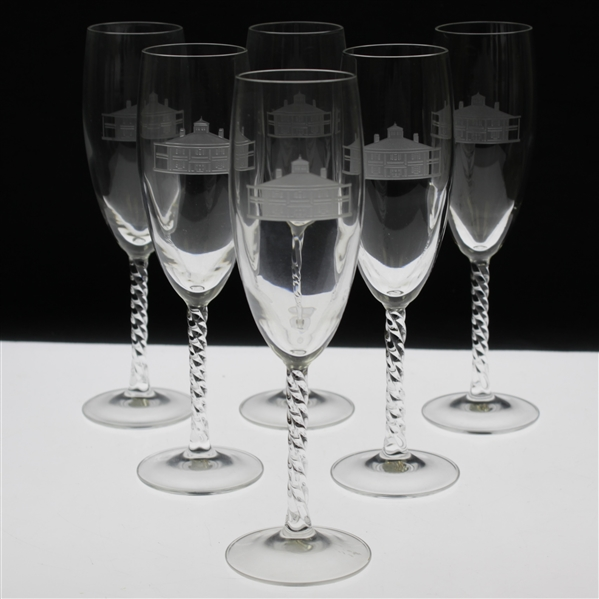 Six (6) Augusta National Golf Club Logo Wine Glasses