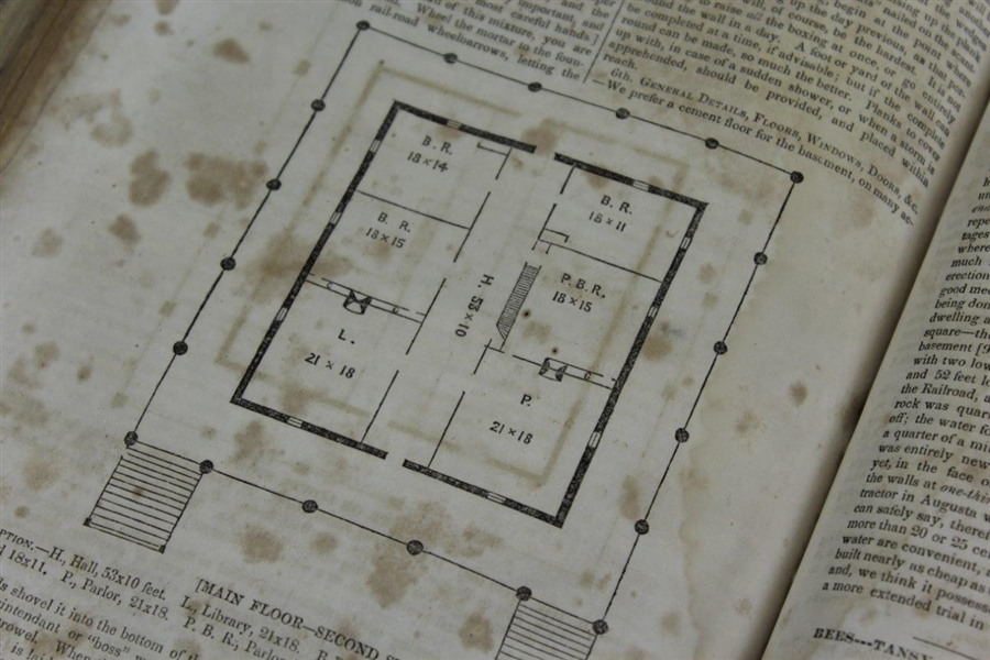Rare 1857 Southern Cultivator with Augusta National Clubhouse Building Specs & Diagrams