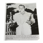 Arnold Palmer 6/30/56 Eastern Open Champion With Trophies