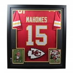 Patrick Mahomes Signed Red Chiefs #15 Jersey with Two Photos - Framed BECKETT #WE24302