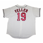 Bob Feller Signed Indians #19 Jersey with Triple Crown Ins. Very Rare With Ins In His Hand PSA/DNA #H33307