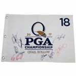 2017 PGA at Quail Hollow Embroidered Flag Signed by Eight Champions JSA ALOA